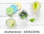 summer lemonade in three... | Shutterstock . vector #653622046