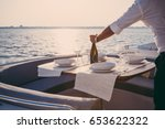 romantic lunch on motor yacht... | Shutterstock . vector #653622322