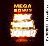mega bonus. retro shining... | Shutterstock .eps vector #653626486
