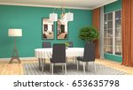 interior dining area. 3d... | Shutterstock . vector #653635798