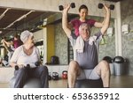 senior people workout in... | Shutterstock . vector #653635912