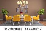 interior dining area. 3d... | Shutterstock . vector #653635942