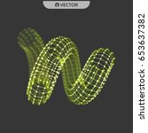 spiral. 3d vector wireframe... | Shutterstock .eps vector #653637382