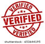 verified round red grunge stamp | Shutterstock .eps vector #653644195