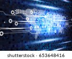 blue technology background of... | Shutterstock . vector #653648416