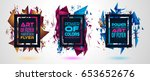 futuristic frame art design... | Shutterstock .eps vector #653652676