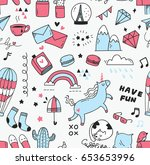 cute doodle seamless background | Shutterstock .eps vector #653653996