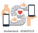 mobile communication  conveyor... | Shutterstock .eps vector #653655115