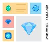 flat brilliant set of diamond ... | Shutterstock .eps vector #653663005