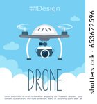 concept of the flying drone... | Shutterstock .eps vector #653672596