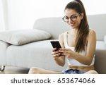 portrait of beautiful young... | Shutterstock . vector #653674066