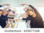 cheerful mature ballerinas... | Shutterstock . vector #653677108