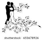 a bride and groom wedding... | Shutterstock .eps vector #653678926