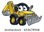 bulldozer digger construction... | Shutterstock .eps vector #653678968