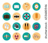 summer icons set. journey and... | Shutterstock .eps vector #653680546