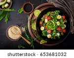 diet menu. healthy salad of... | Shutterstock . vector #653681032