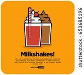 milkshake illustration in line... | Shutterstock .eps vector #653685196