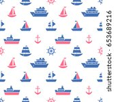 seamless pattern with blue and... | Shutterstock . vector #653689216