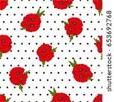 seamless vector pattern. poppy...   Shutterstock .eps vector #653692768