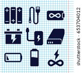 set of 9 charge filled icons... | Shutterstock .eps vector #653704012