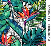 watercolor tropical leaves and... | Shutterstock . vector #653705308