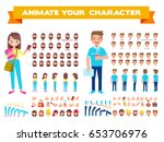 front  side  back view animated ... | Shutterstock .eps vector #653706976