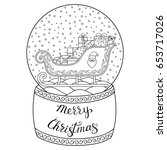 toy glass snow globe with santa ... | Shutterstock .eps vector #653717026