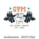gym club emblem in retro style. ... | Shutterstock .eps vector #653717362