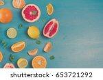Citrus Food Border On Blue...