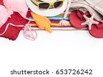 swimsuit tanning spray towel... | Shutterstock . vector #653726242