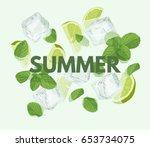 summer letter with mojito... | Shutterstock .eps vector #653734075