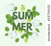 summer letter with mojito... | Shutterstock .eps vector #653734102
