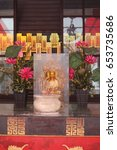 Small photo of THIAN HOCK KENG, SINGAPORE, JANUARY, 2015: statue of the Chinese gods at the altar of Thian Hock Keng temple in Singapore