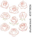 Stock vector set of roses vector illustration 65373826