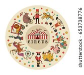 color circus icons  set in a...   Shutterstock .eps vector #653738776