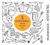 vector set of kitchen utensils. ... | Shutterstock .eps vector #653738782