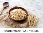 rolled oats  healthy breakfast... | Shutterstock . vector #653741836