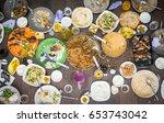 top view of leftovers food on... | Shutterstock . vector #653743042