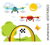 vector quadrocopter racing... | Shutterstock .eps vector #653743822