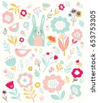 baby pattern with cute bunny... | Shutterstock .eps vector #653753305