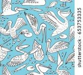 pelican pattern  texture design ... | Shutterstock .eps vector #653753335