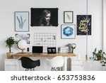 modern workspace with double... | Shutterstock . vector #653753836