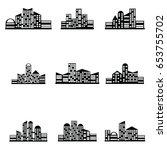 vector black city icons set | Shutterstock .eps vector #653755702