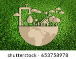 save water concept. paper cut... | Shutterstock . vector #653758978