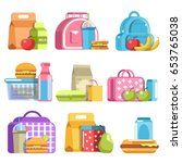 school lunch and meal boxes ... | Shutterstock .eps vector #653765038