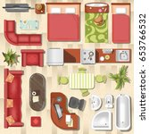 apartment flat furniture layout ... | Shutterstock .eps vector #653766532