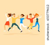 happy people jumping. flat... | Shutterstock .eps vector #653779612