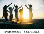 multicultural group of friends... | Shutterstock . vector #653782066