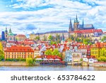 view of the prague castle and... | Shutterstock . vector #653784622