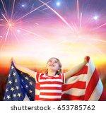 little girl with usa flag... | Shutterstock . vector #653785762